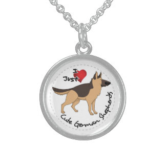 I Love My Happy Adorable & Cute German Shepherd Sterling Silver Necklace