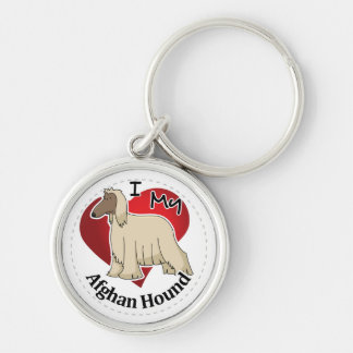 I Love My Happy Adorable Funny & Cute Afghan Hound Key Ring