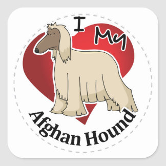 I Love My Happy Adorable Funny & Cute Afghan Hound Square Sticker