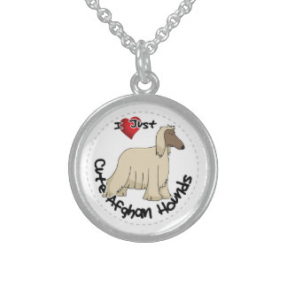 I Love My Happy Adorable Funny & Cute Afghan Hound Sterling Silver Necklace