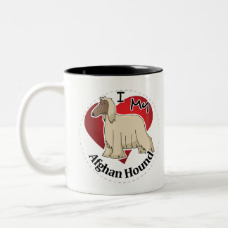 I Love My Happy Adorable Funny & Cute Afghan Hound Two-Tone Coffee Mug