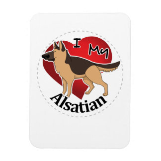 I Love My Happy Adorable Funny & Cute Alsatian Dog Magnet