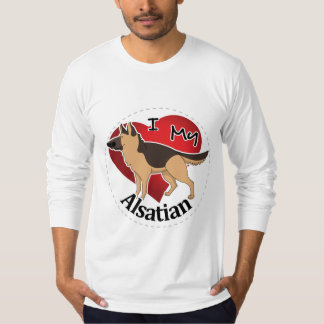 I Love My Happy Adorable Funny & Cute Alsatian Dog T-Shirt