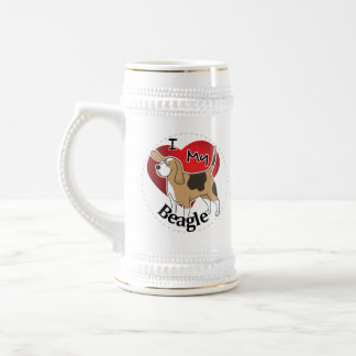 I Love My Happy Adorable Funny & Cute Beagle Dog Beer Stein