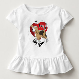 I Love My Happy Adorable Funny & Cute Beagle Dog Toddler T-Shirt