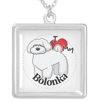 I Love My Happy Adorable Funny & Cute Bolonka Dog Silver Plated Necklace