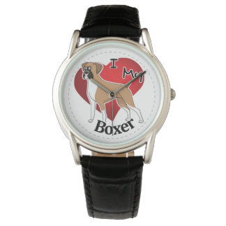 I Love My Happy Adorable Funny & Cute Boxer Dog Wrist Watch