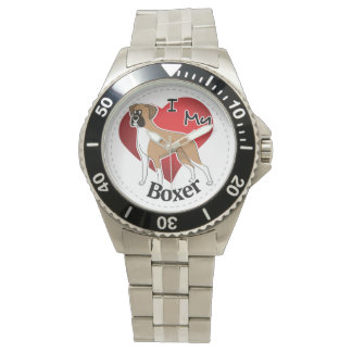 I Love My Happy Adorable Funny & Cute Boxer Dog Wrist Watches