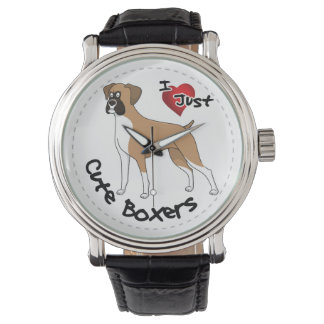 I Love My Happy Adorable Funny & Cute Boxer Dog Wristwatch