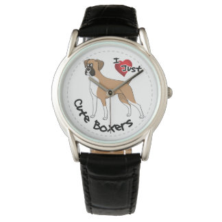 I Love My Happy Adorable Funny & Cute Boxer Dog Wristwatches