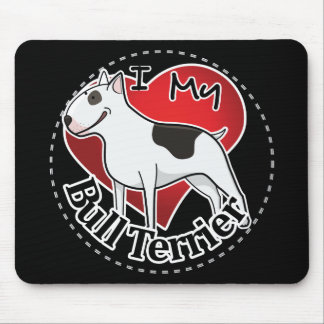 I Love My Happy Adorable Funny & Cute Bull Terrier Mouse Pad