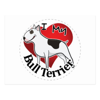 I Love My Happy Adorable Funny & Cute Bull Terrier Postcard