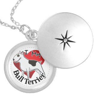 I Love My Happy Adorable Funny & Cute Bull Terrier Silver Plated Necklace