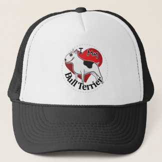I Love My Happy Adorable Funny & Cute Bull Terrier Trucker Hat