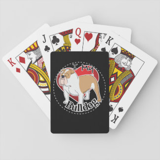 I Love My Happy Adorable Funny & Cute Bulldog Dog Poker Deck