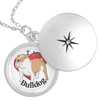 I Love My Happy Adorable Funny & Cute Bulldog Dog Silver Plated Necklace