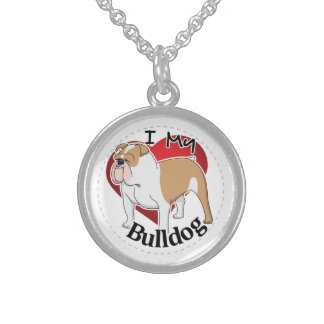 I Love My Happy Adorable Funny & Cute Bulldog Dog Sterling Silver Necklace