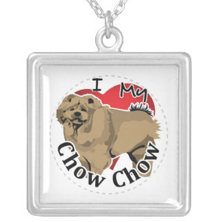 I Love My Happy Adorable Funny & Cute Chow Chow Silver Plated Necklace