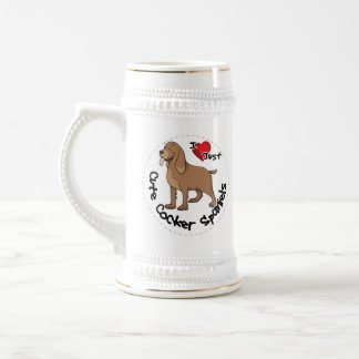 I Love My Happy Adorable Funny & Cute Cocker Spani Beer Stein