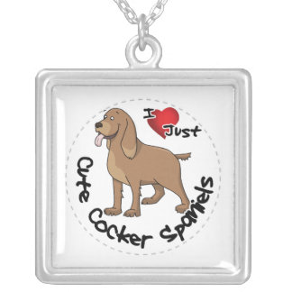 I Love My Happy Adorable Funny & Cute Cocker Spani Silver Plated Necklace