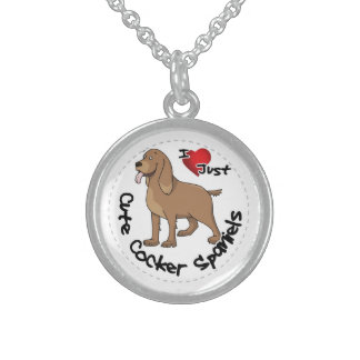 I Love My Happy Adorable Funny & Cute Cocker Spani Sterling Silver Necklace
