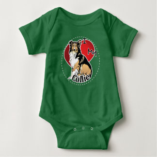 I Love My Happy Adorable Funny & Cute Collie Dog Baby Bodysuit