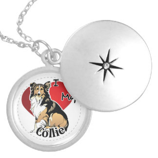 I Love My Happy Adorable Funny & Cute Collie Dog Locket Necklace