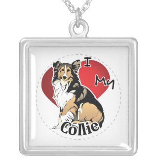 I Love My Happy Adorable Funny & Cute Collie Dog Silver Plated Necklace