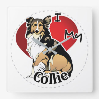 I Love My Happy Adorable Funny & Cute Collie Dog Square Wall Clock