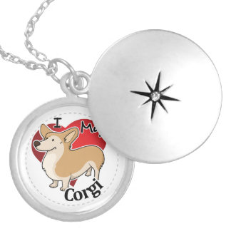 I Love My Happy Adorable Funny & Cute Corgi Dog Silver Plated Necklace