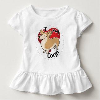 I Love My Happy Adorable Funny & Cute Corgi Dog Toddler T-Shirt
