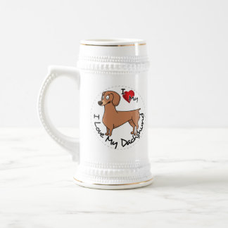 I Love My Happy Adorable Funny & Cute Dachshund Do Beer Stein