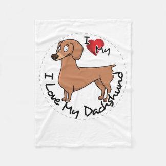 I Love My Happy Adorable Funny & Cute Dachshund Do Fleece Blanket