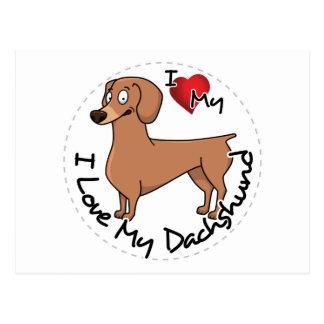 I Love My Happy Adorable Funny & Cute Dachshund Do Postcard