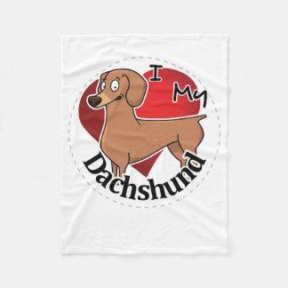 I Love My Happy Adorable Funny & Cute Dachshund Fleece Blanket