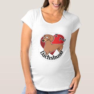 I Love My Happy Adorable Funny & Cute Dachshund Maternity T-Shirt