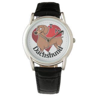 I Love My Happy Adorable Funny & Cute Dachshund Watch