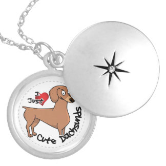 I Love My Happy Adorable Funny & Cute Dachsund Dog Silver Plated Necklace