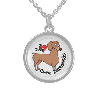 I Love My Happy Adorable Funny & Cute Dachsund Dog Sterling Silver Necklace