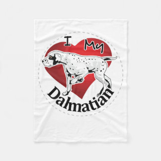 I Love My Happy Adorable Funny & Cute Dalmatian Fleece Blanket