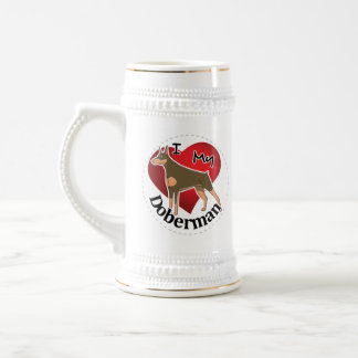 I Love My Happy Adorable Funny & Cute Doberman Dog Beer Stein