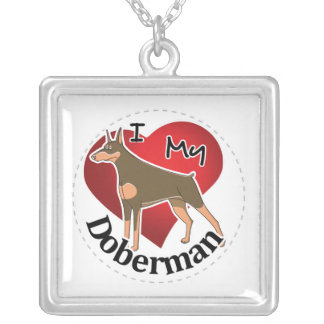 I Love My Happy Adorable Funny & Cute Doberman Dog Silver Plated Necklace