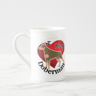 I Love My Happy Adorable Funny & Cute Doberman Dog Tea Cup