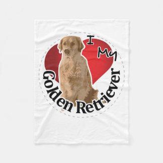 I Love My Happy Adorable Funny & Cute Golden Retri Fleece Blanket