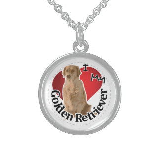 I Love My Happy Adorable Funny & Cute Golden Retri Sterling Silver Necklace