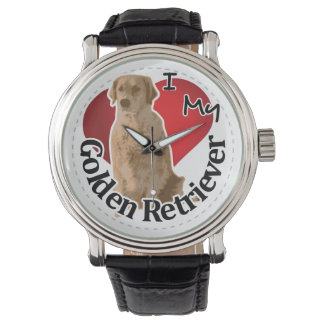 I Love My Happy Adorable Funny & Cute Golden Retri Wristwatch