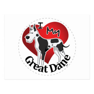 I Love My Happy Adorable Funny & Cute Great Dane Postcard