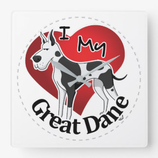 I Love My Happy Adorable Funny & Cute Great Dane Square Wall Clock