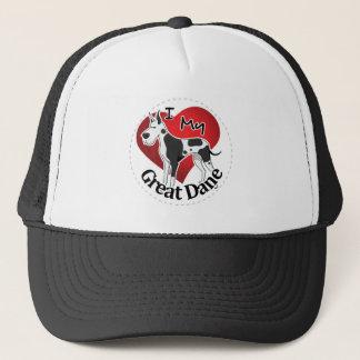I Love My Happy Adorable Funny & Cute Great Dane Trucker Hat