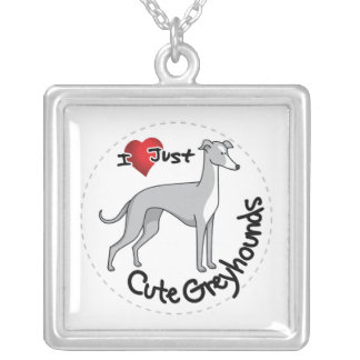 I Love My Happy Adorable Funny & Cute Greyhound Do Silver Plated Necklace
